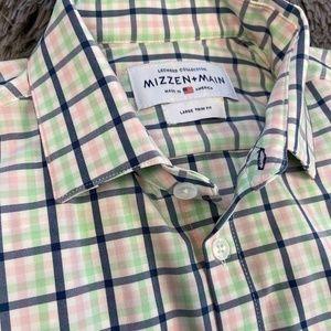 Mizzen+Main Leeward Pink Blue Trim Fit Shirt